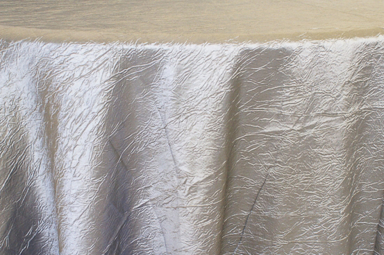 Rental Table Linen Crushed Taffeta Round Tablecloth Silver A Particular Event Rental