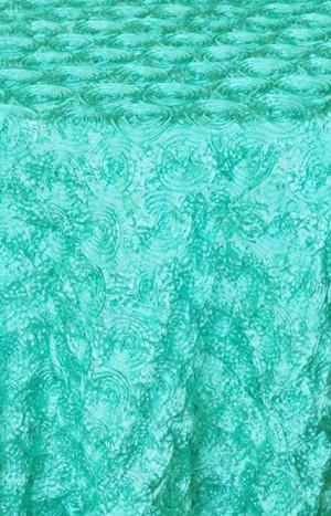 Rental Table Linen Round Satin Rosette Tablecloth U2013 Tiffany Blue U2013 Aqua