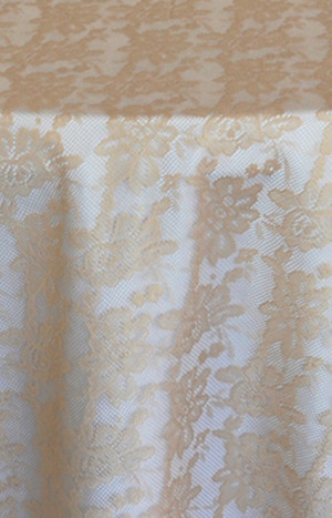 Rental Table Overlay Square Lace - Champagne