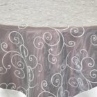 Rental Table Overlay Topper Embroidered Organza - Ivory