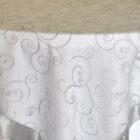 Rental Table Overlay Topper Embroidered Organza - Silver