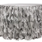 Rental 21 ft Table Skirts, Curly Willows Silver