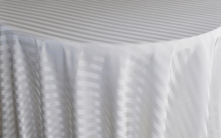 Rental Table Linen Striped Round Jacquard Polyester Tablecloths Ivory A Particular Event Rental