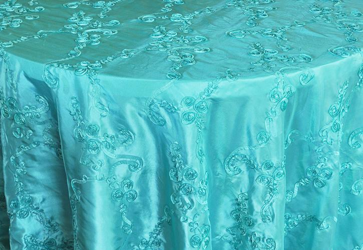 Rental Table Linen Round Ribbon Taffeta Tablecloth Tiffany Blue A Particular Event Rental