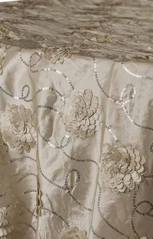 Tablecloth Overlay Flower on Sequin Taffeta 90 x 90 - Champagne