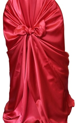 Rental Chair Cover Satin Universal Self Tie - Apple-Red