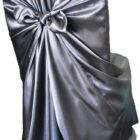 Rental Chair Cover Satin Universal Self Tie - Pewter