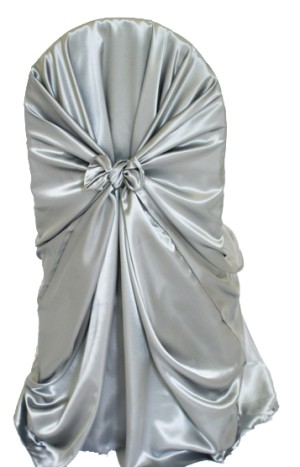 Rental Chair Cover Satin Universal Self Tie - Silver