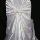 Rental Chair Cover Satin Universal Self Tie - White
