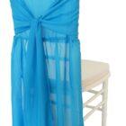 Rental Chair Cover Chiffon Chiavari With Sash Turquoise
