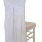 Rental Chair Cover Chiffon Chiavari With Sash White