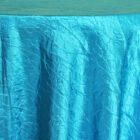 Rental Table Linen Crushed Taffeta Round Tablecloth - Turquoise