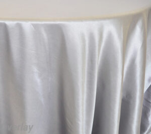 Rental Table Overlay Satin Square - Silver