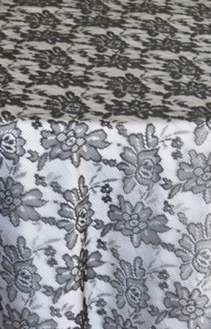 Rental Table Overlay Square Lace - Black