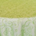 Rental Table Overlay Topper Embroidered Organza - Apple Green