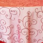 Rental Table Overlay Topper Embroidered Organza - Apple Red