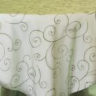 Rental Table Overlay Topper Embroidered Organza - Clover