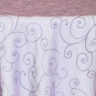 Rental Table Overlay Topper Embroidered Organza - Eggplant
