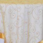 Rental Table Overlay Topper Embroidered Organza - Gold