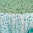 Rental Table Overlay Topper Embroidered Organza - Jade