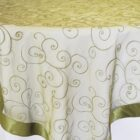 Rental Table Overlay Topper Embroidered Organza - Moss Green