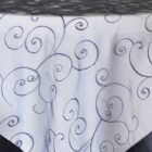 Rental Table Overlay Topper Embroidered Organza - Navy Blue