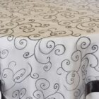Rental Table Overlay Topper Embroidered Organza - Pewter