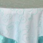 Rental Table Overlay Topper Embroidered Organza - Pool Blue