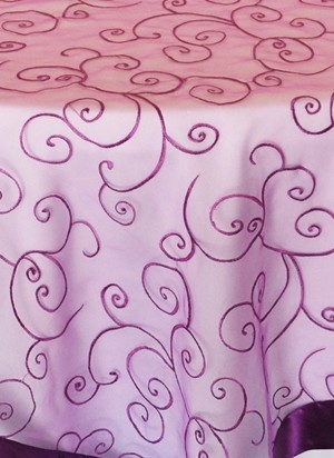 Rental Table Overlay Topper Embroidered Organza - Purple