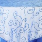 Rental Table Overlay Topper Embroidered Organza - Royal Blue