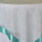 Rental Table Overlay Topper Embroidered Organza - Tiffany Blue - Aqua