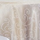 Rental Table Overlay Topper Embroidered Organza - White