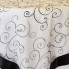 Rental Table Overlay Topper Embroidered Organza - White-Black
