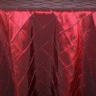 Rental Round Pintuck Taffeta Tablecloth - Burgundy