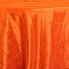 Rental Round Pintuck Taffeta Tablecloth - Orange