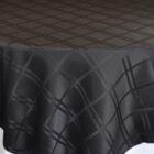 Rental Table Overlay Houston Square Plaid Jacquard Polyester Black