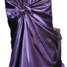 Rental Chair Cover Satin Universal Self Tie - Eggplant